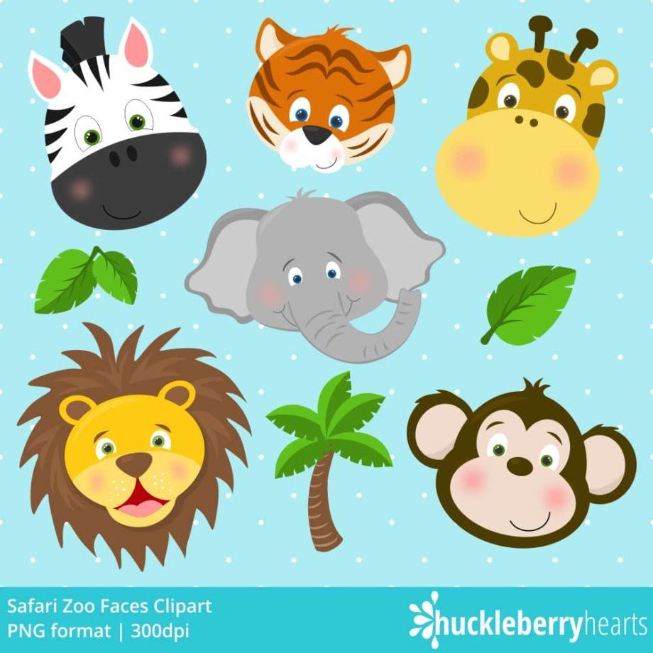 Safari Zoo Faces Clipart