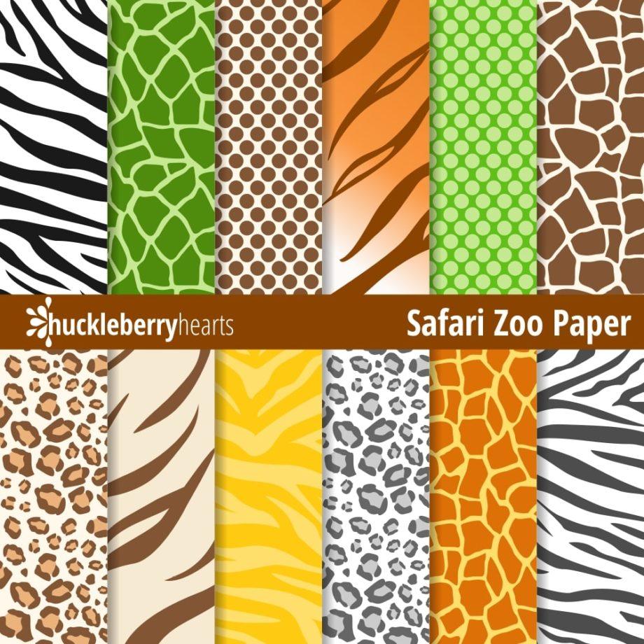 Safari Zoo Animal Prints Digital Paper