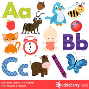 Alphabet Letters A-C Clipart