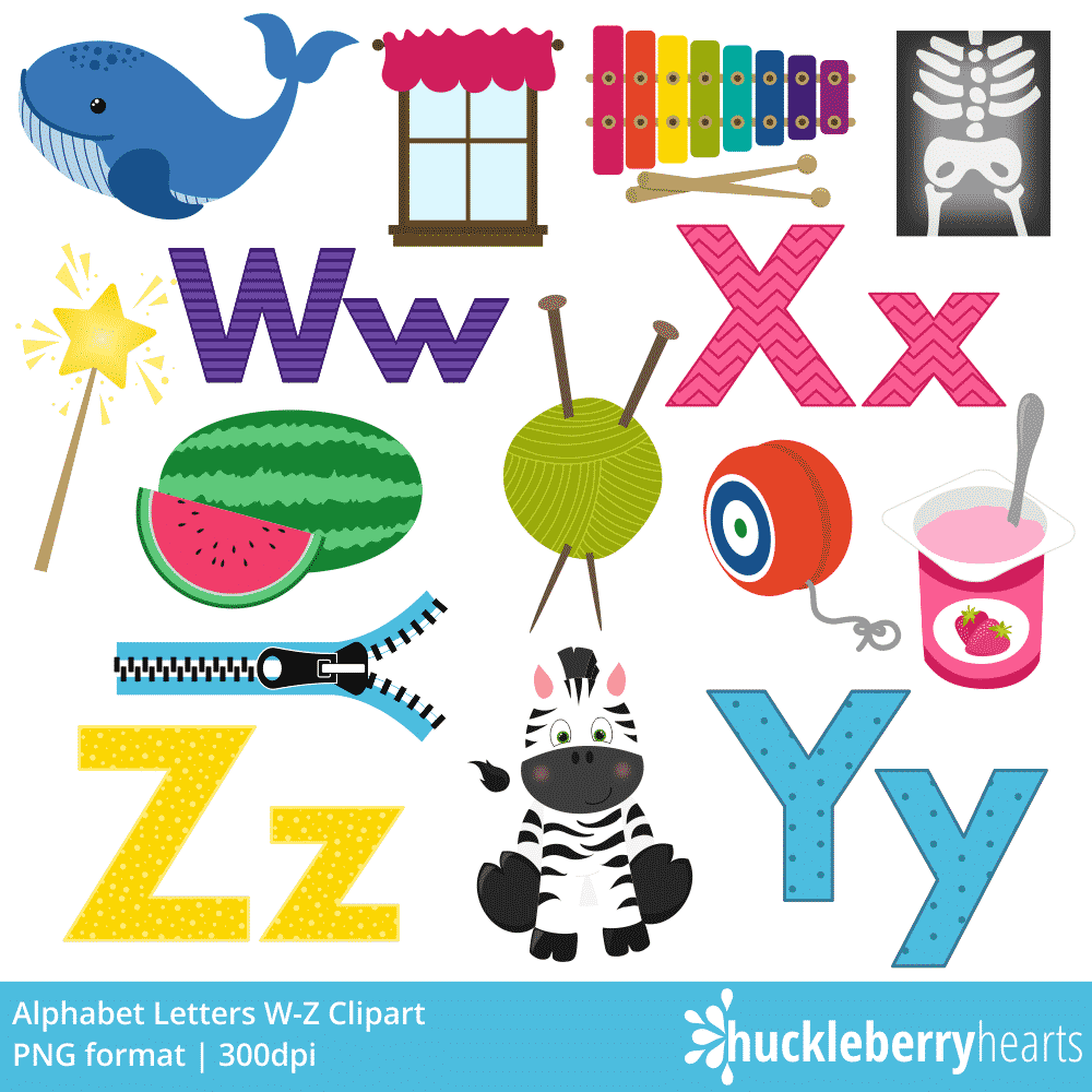 alphabet letters w z clipart huckleberry hearts