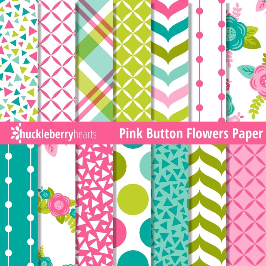 Pink Button Flowers Paper