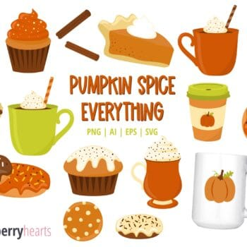 Assorted Pumpkin Spice themed clipart and vectors