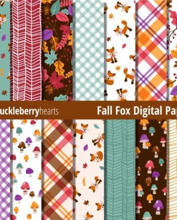 Fall Fox Digital Scrapbook Paper