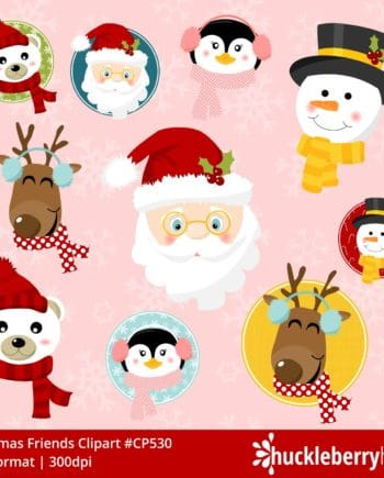 Assorted Christmas Character Faces Clipart