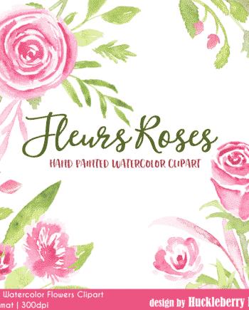 Fleur Roses Watercolor Clipart