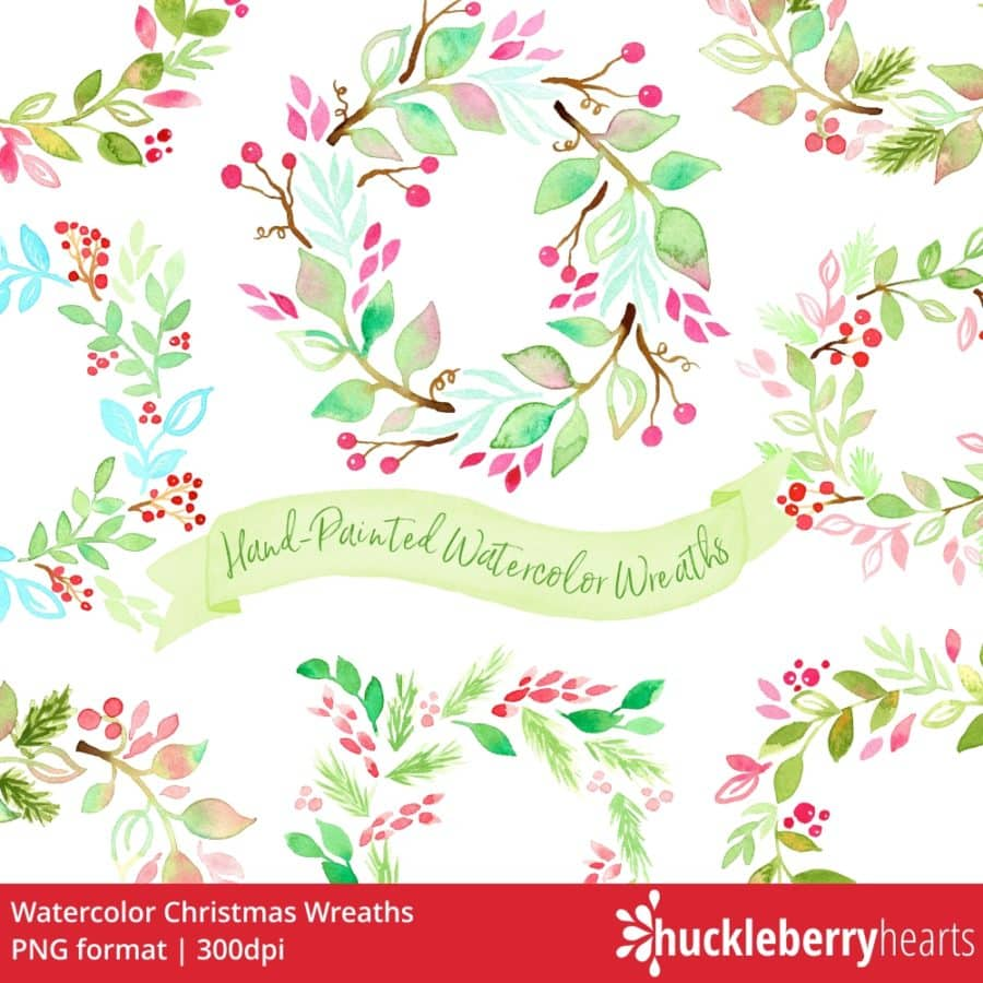 Watercolor Christmas Wreath Png.Watercolor Christmas Wreaths Clipart