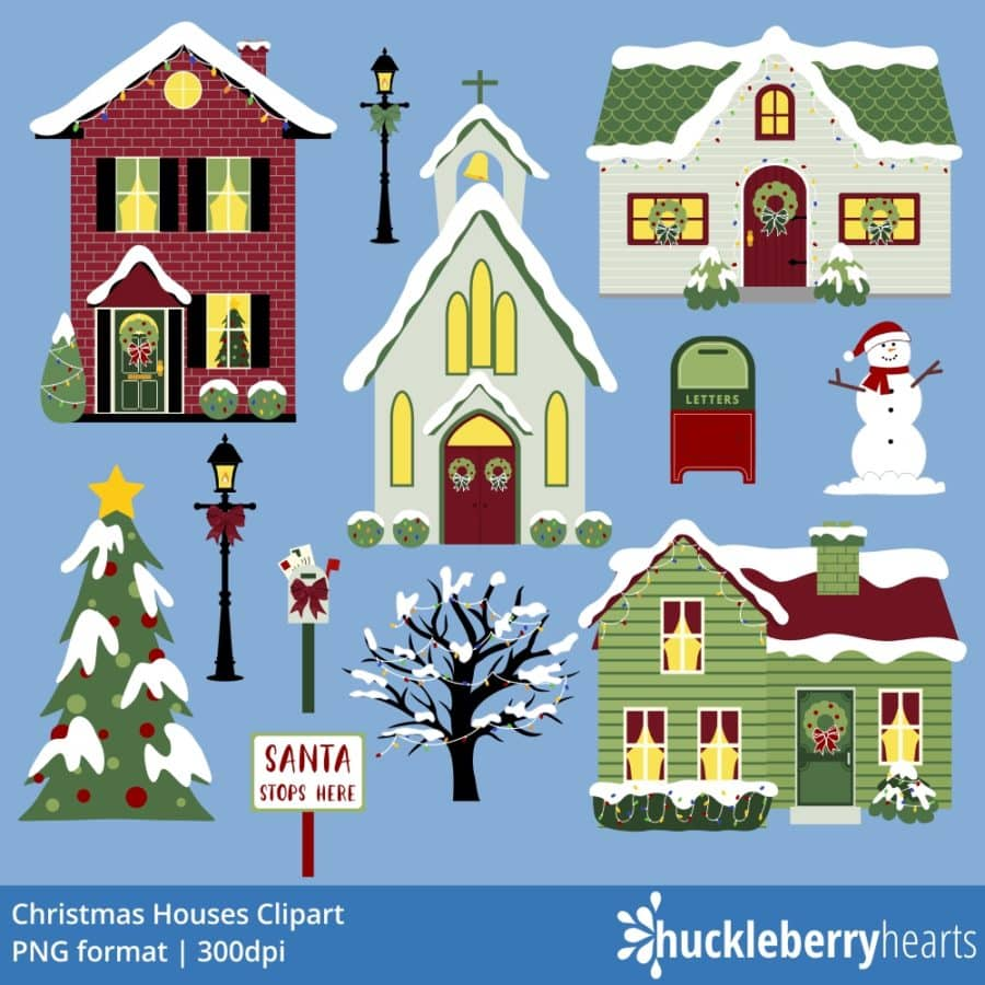 Christmas Houses Clipart