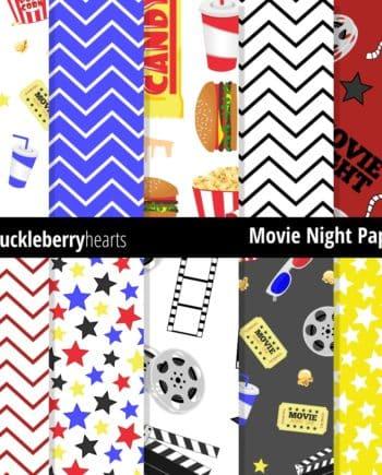 Movie Night Digital Paper