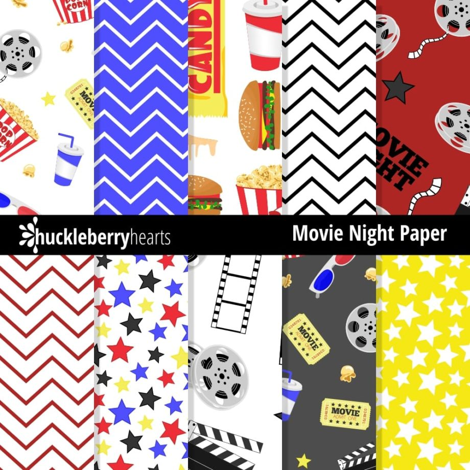 Movie Night Digital Paper