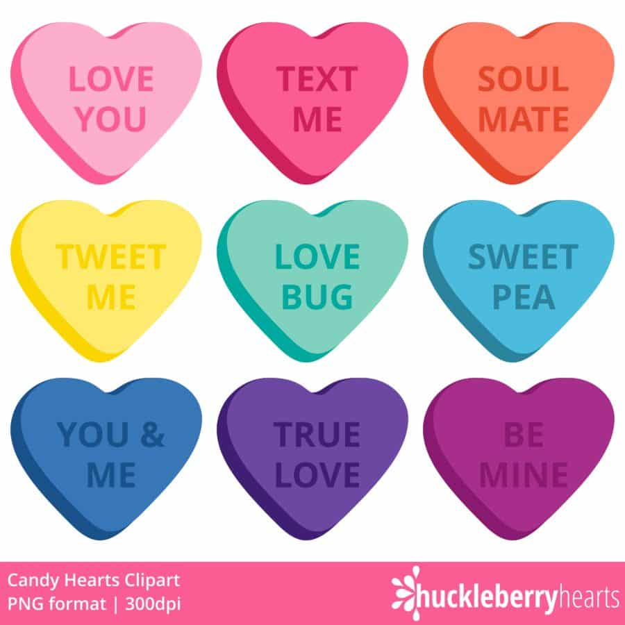 Candy Hearts Clipart - Huckleberry Hearts