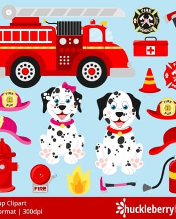 Dalmation Dogs and Fire Station Themed Clipart with Fire Trucks, Hats, and Fire Hydrant Images