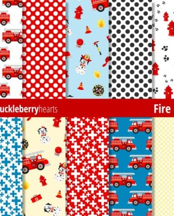 Dalmation Dog and Fire Station Themed Digital Paper with Fire Trucks