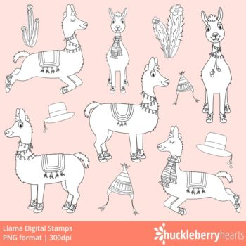 Llama Digi Stamps with solid white and black outlines and transparent background