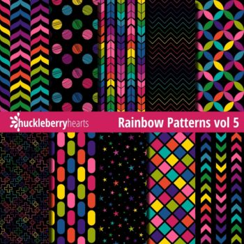 Bright and Colorful Rainbow Patterns on Dark Black Backgrounds