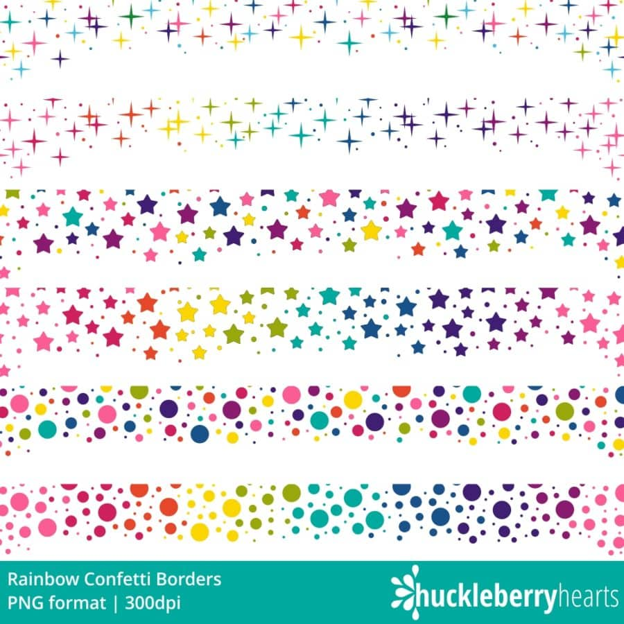 Rainbow Stars Confetti Clipart