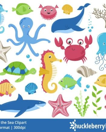 Ocean Creatures Clipart featuring fish, seahorses, starfish, an octupus, whale, share, and more.