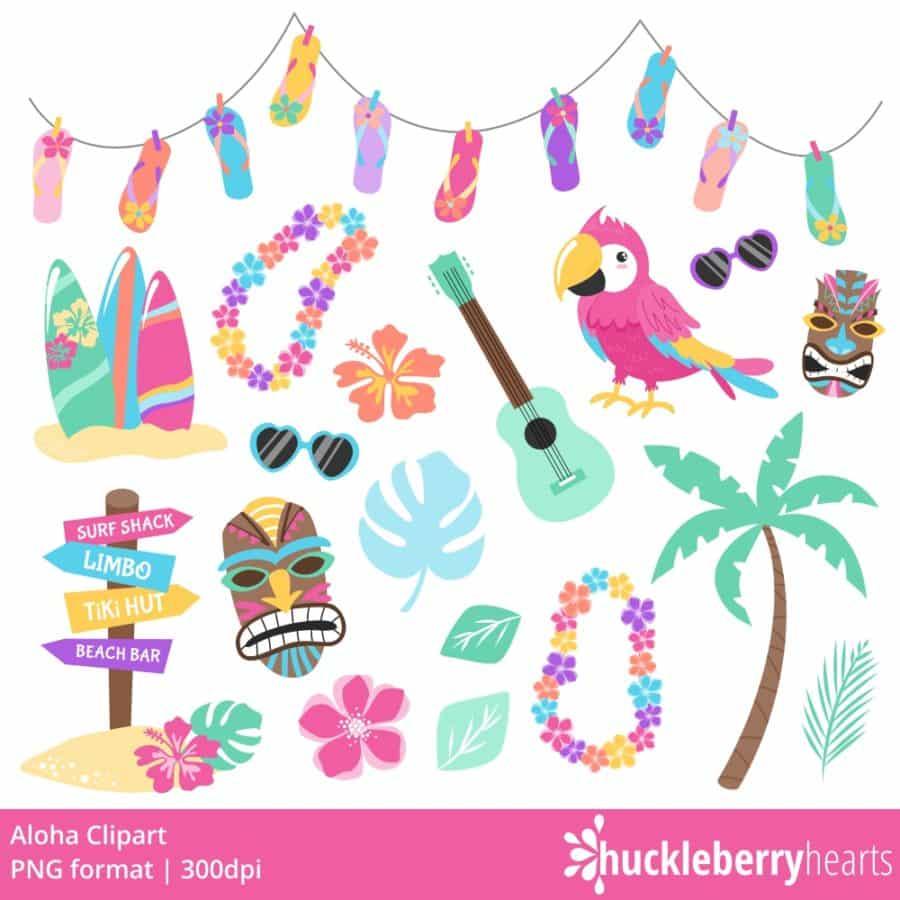Hawaiian themed tropical clipart set