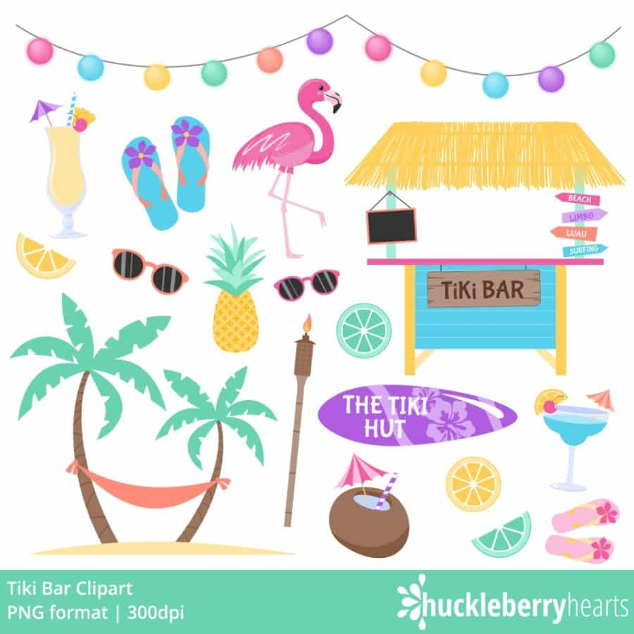 Tiki Themed Tropical Clipart set