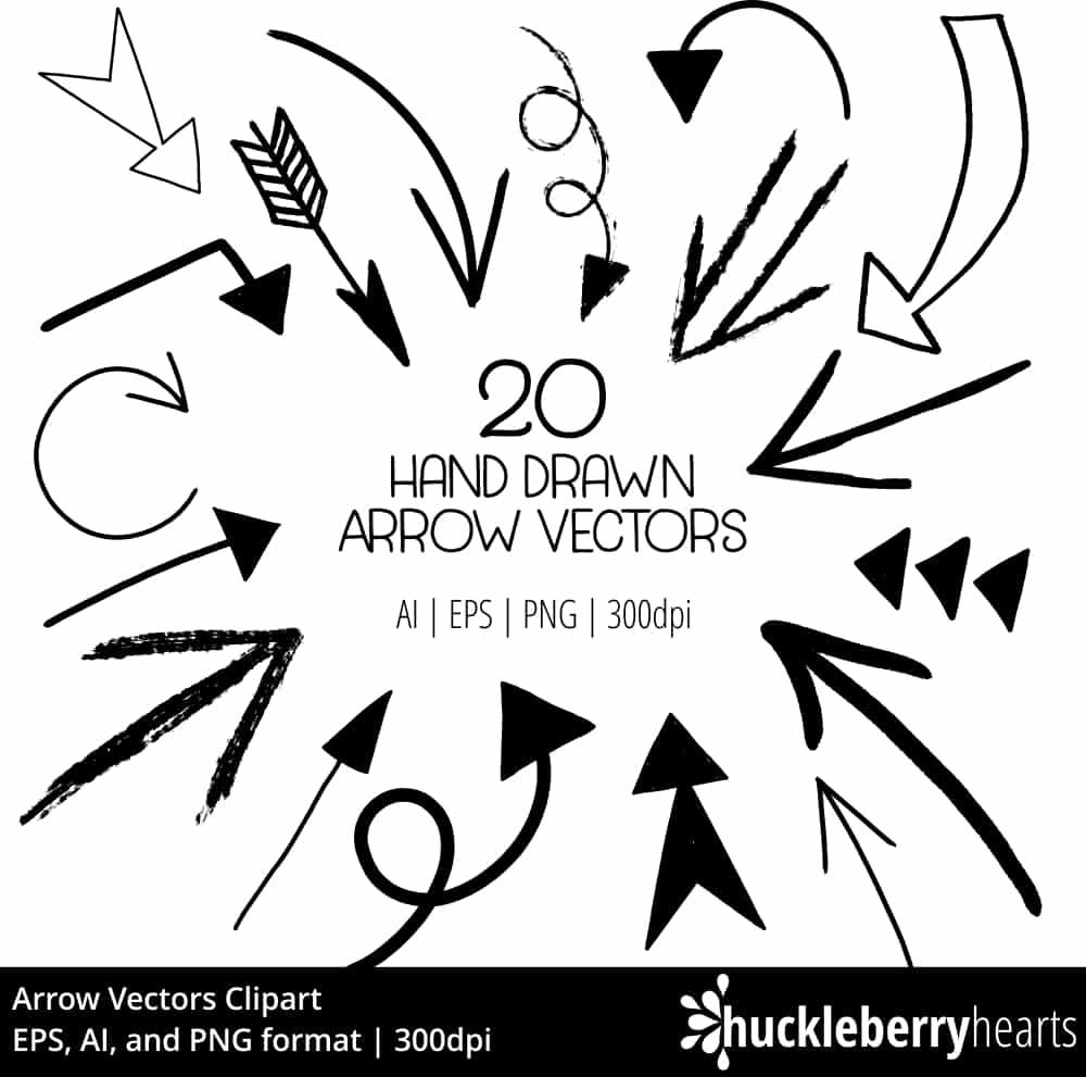 hand drawn arrow vectors huckleberry hearts