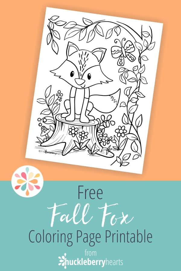 Coloring Page with Fall Fox
