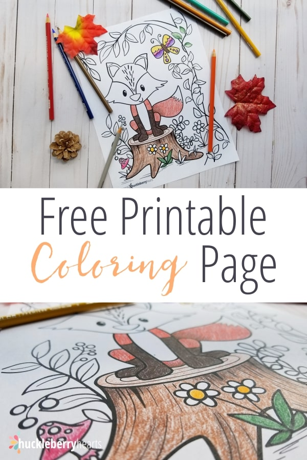 Free Coloring Page for Adults featuring Fall Fox from Huckleberry Hearts blog