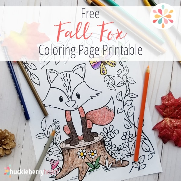 Free Fall Fox Coloring Page Huckleberry Hearts