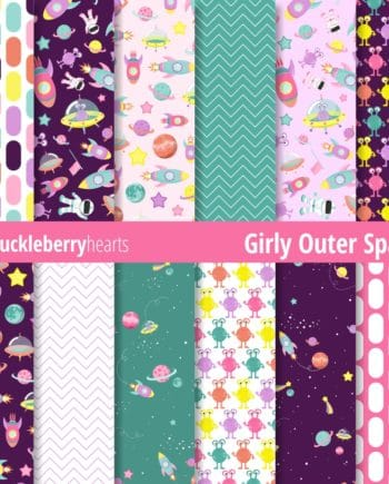 Girly Outer Space Seamless Digital Scrapbook Paper