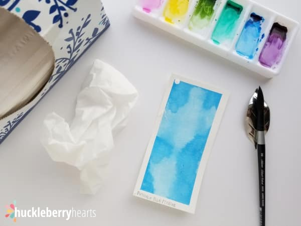 Using Tissue to Add Watercolor Texture and Make Clouds