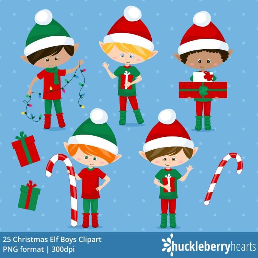 Christmas Elf Boys Clipart