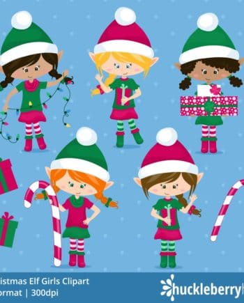 Christmas Elf Girls Clipart