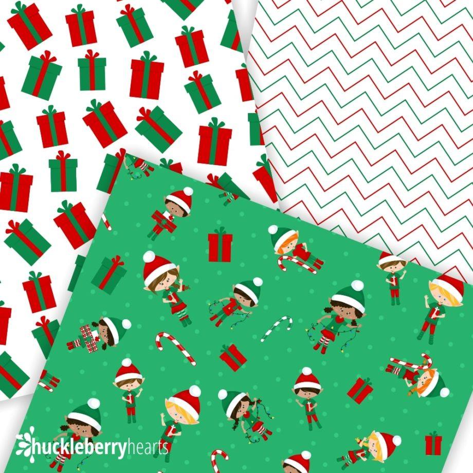 Christmas Elves Digital Paper Patterns