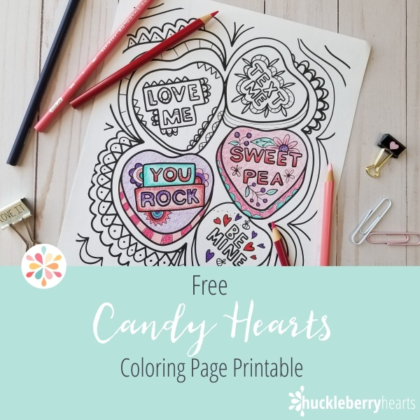Flowers and Hearts Coloring Page