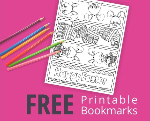 Printable Bookmarks with easter bunnies and easter eggs from huckleberry hearts