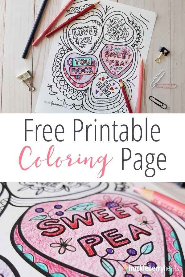 Free Valentine Coloring Page from Huckleberry Hearts