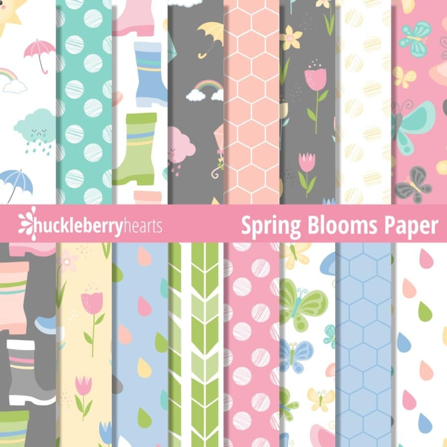 digital scrapbook paper with flowers, butterflies, and birds