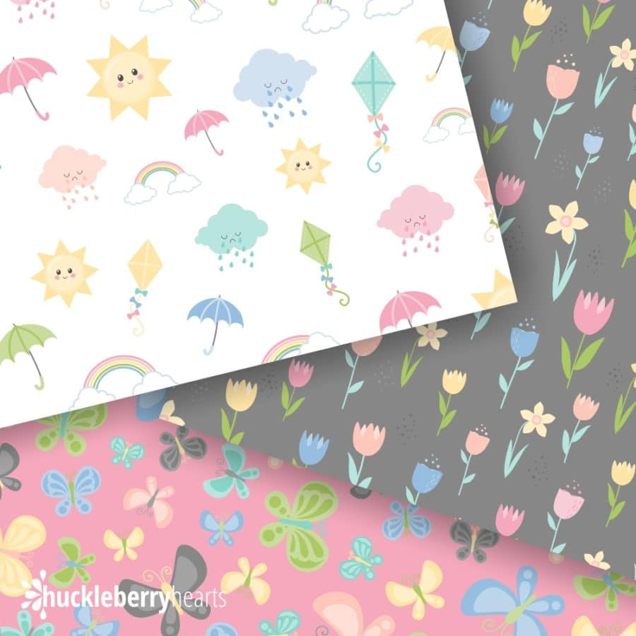Samples of digital scrapbook paper