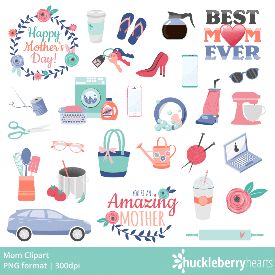 Happy Mothers Day with car, keys, purse, flip flops, coffee and other mom themed clipart
