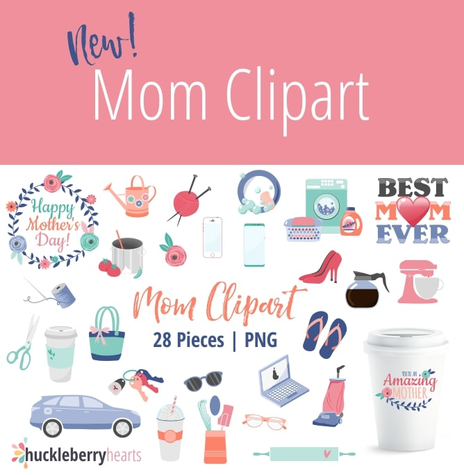 Happy Mothers Day, Car, Keys, Laundry, Shoes, Coffee, and other mom themed cliparts