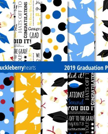 Blue and Black Graduation Caps and Diplomas
