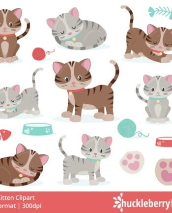 kitten clipart with cute kittens, yarn, fish, food and water dishes, and paw prints