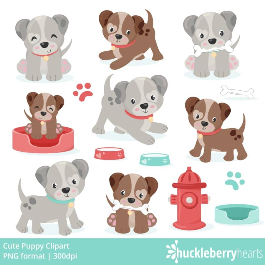 Puppy Clipart Set with cute puppies and fire hydrant