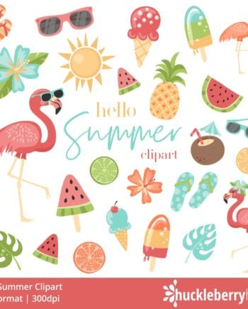 Summer themed clipart set featuring flamingos and watermelon