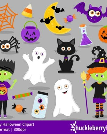 Halloween Clipart set with trick or treaters, ghosts, cat, bats, and spiders