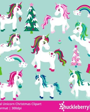 Magical Christmas Unicorn Clipart with Christmas Trees and Rainbows