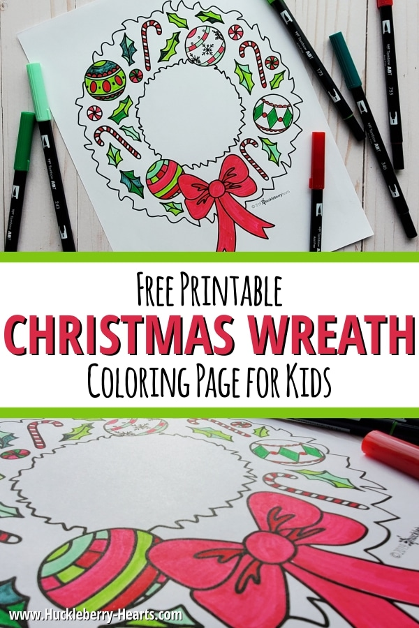 Christmas Wreath Coloring Page with Markers