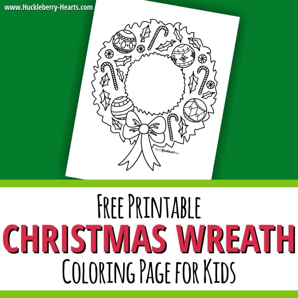 Printable Christmas Wreath Coloring Page for Kids