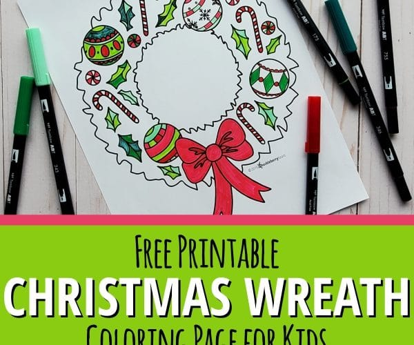 Christmas Wreath Coloring Page for Kids with makers