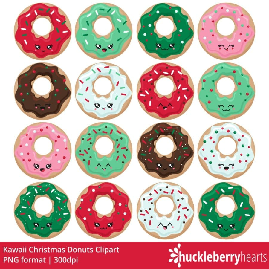 kawaii Christmas themed donut clipart