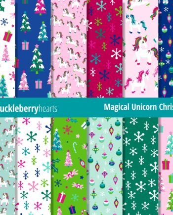 Downloadable Digital Scrapbook Paper featuring Magical Christmas Unicorns