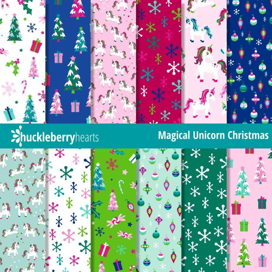 Downloadable Digital Scrapbook Paper featuring Magical Christmas Unicorns